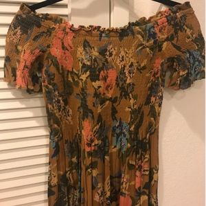 Urban Outfitters Floral Off-Shoulder Midi Dress